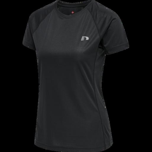 WOMEN CORE RUNNING T-SHIRT S/S, BLACK, packshot