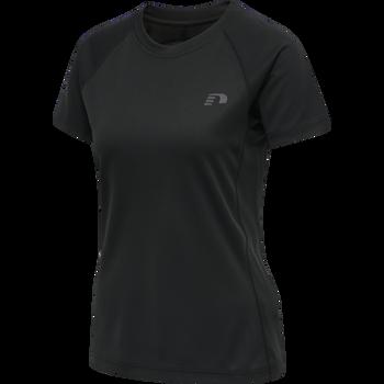 WOMEN RUNNING T-SHIRT S/S, BLACK, packshot