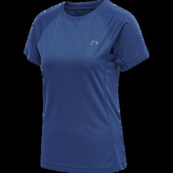 WOMEN CORE RUNNING T-SHIRT S/S, TRUE BLUE, packshot