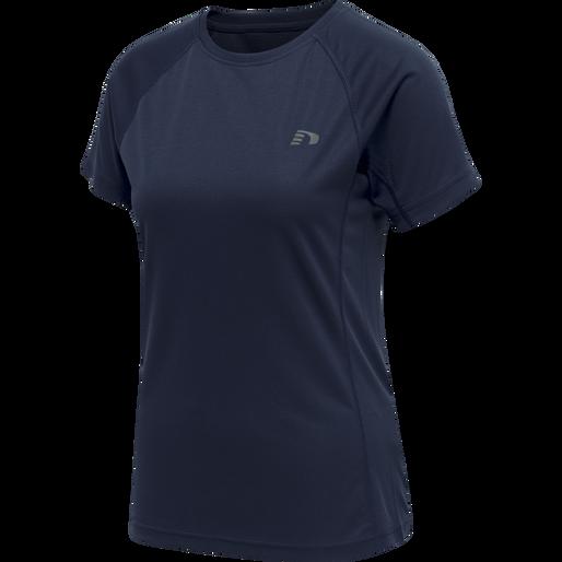 WOMEN CORE RUNNING T-SHIRT S/S, BLACK IRIS, packshot