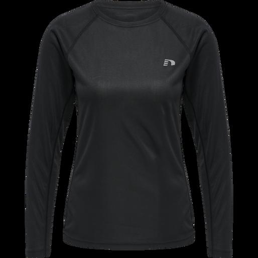 WOMEN CORE RUNNING T-SHIRT L/S, BLACK, packshot